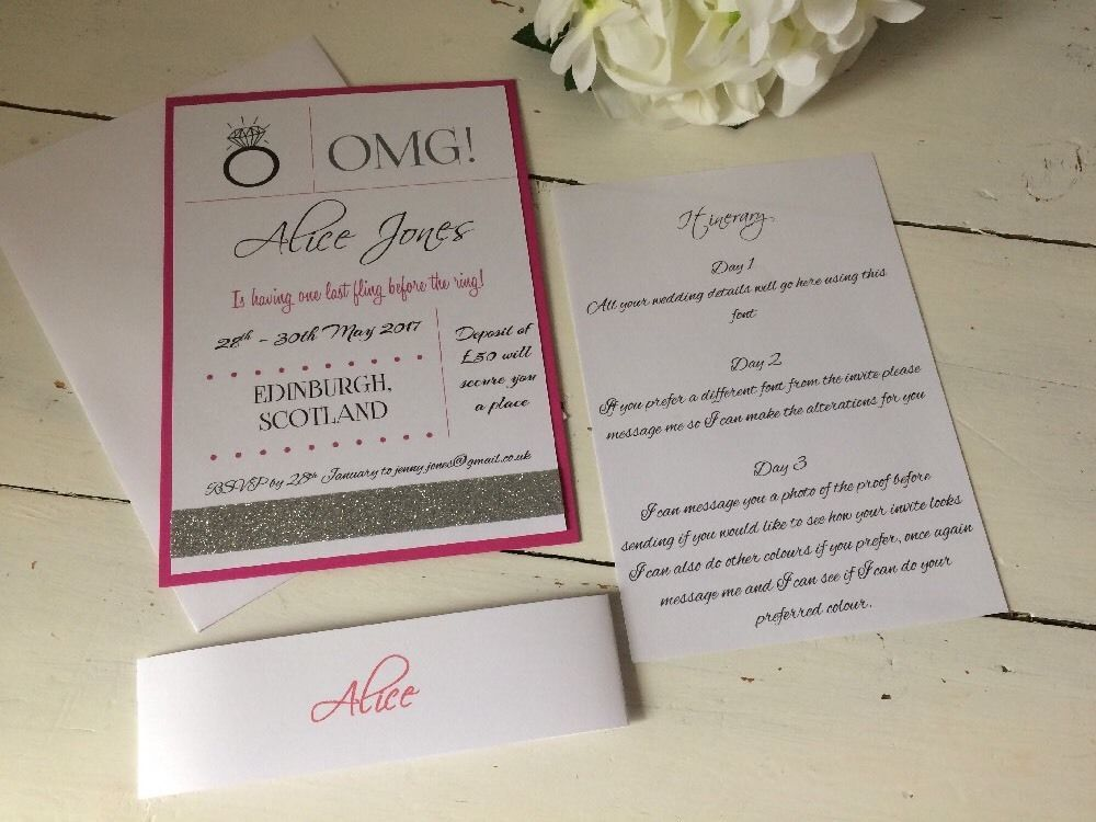 10 Pink & Silver Personalised And Handmade Hen Party Invitation ...