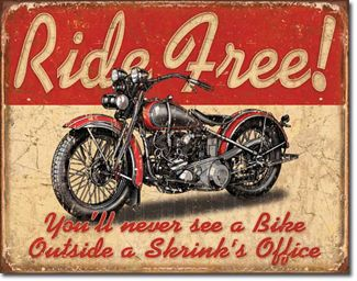 VINTAGE RETRO STYLE METAL TIN SIGN POSTER RIDE FREE SHRINK CAVE WALL HOME