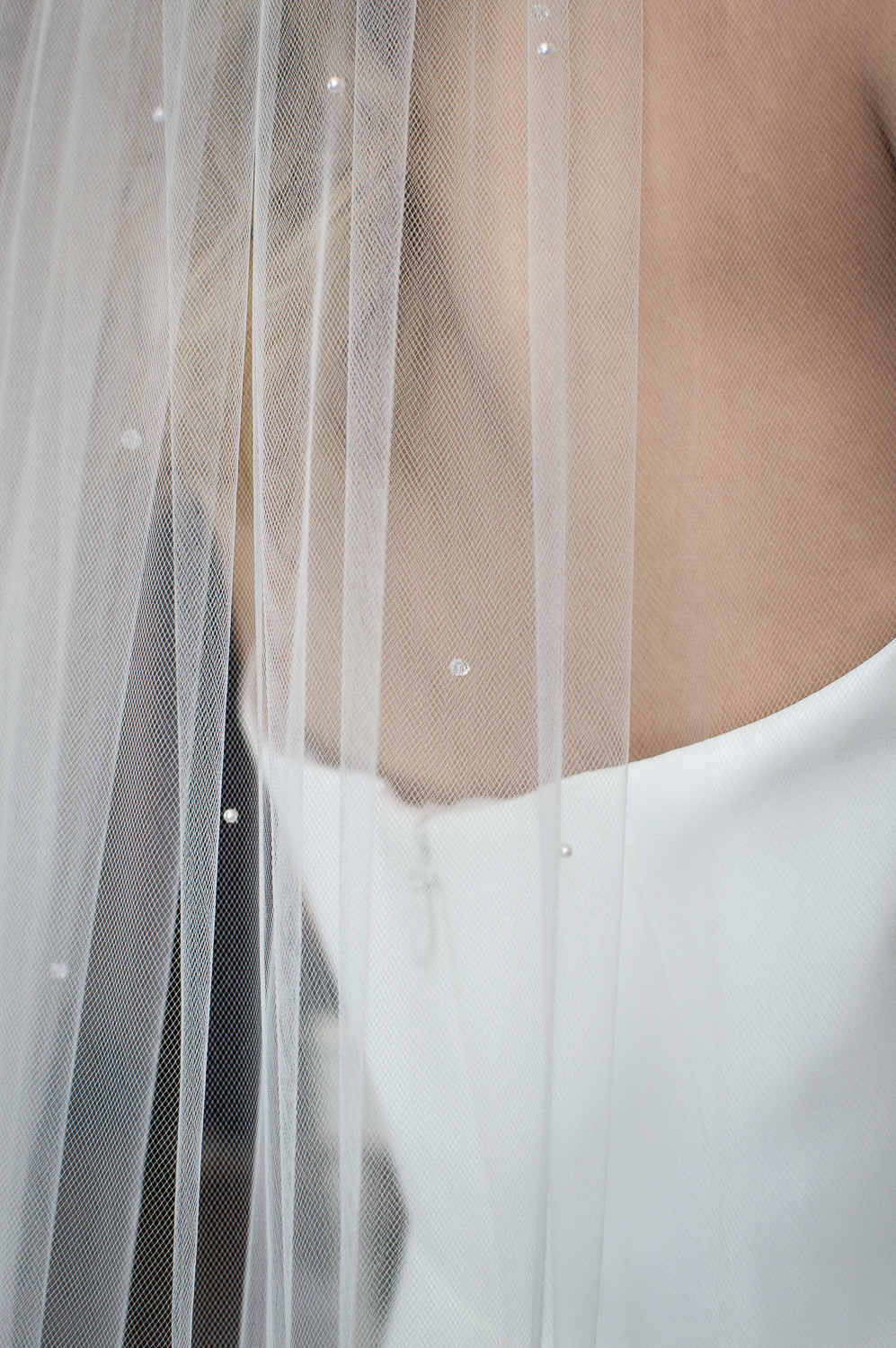 ALEXIS one layer cathedral length veil with scattered