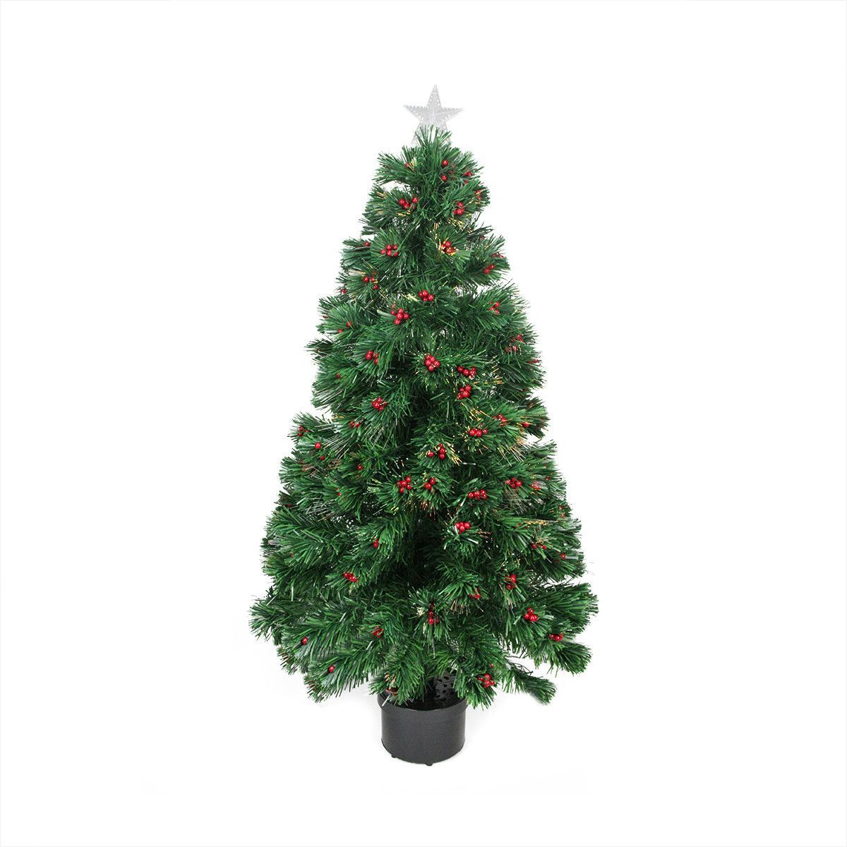 3\' Color Changing Fiber Optic Christmas Tree with Red Berries ...