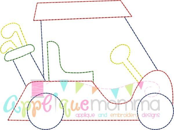 Vintage Golf Cart Embroidery Design Applique Momma Applique
