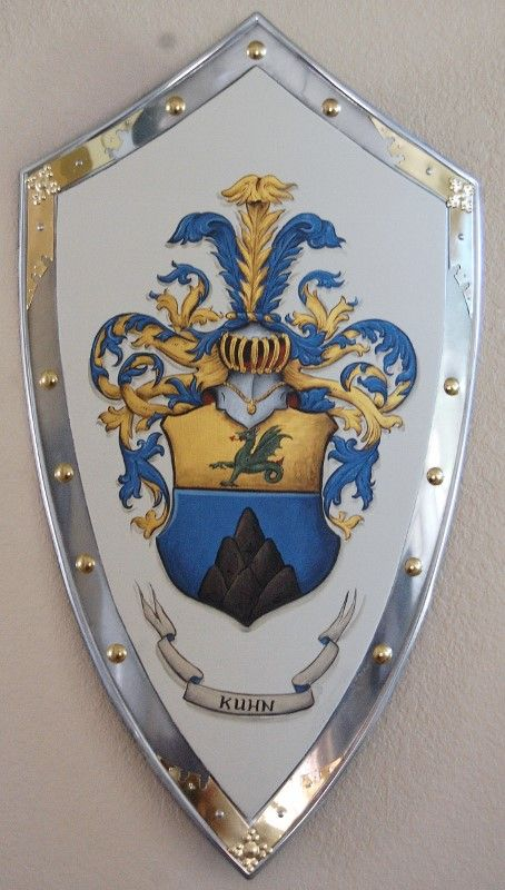 Ornate knight shield with family crest painting gold ...