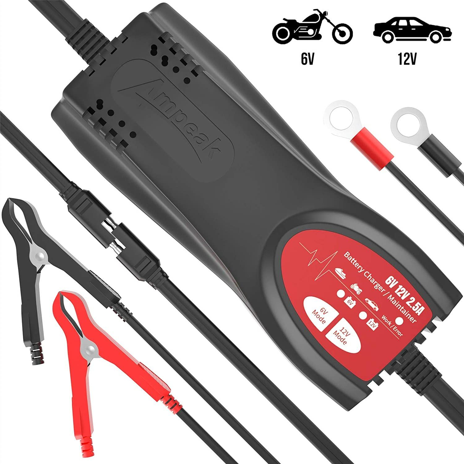 Contents Reviews Ampeak 6v 12v Car Battery Charger 2 5a Automatic Trickle Charger Maintainer