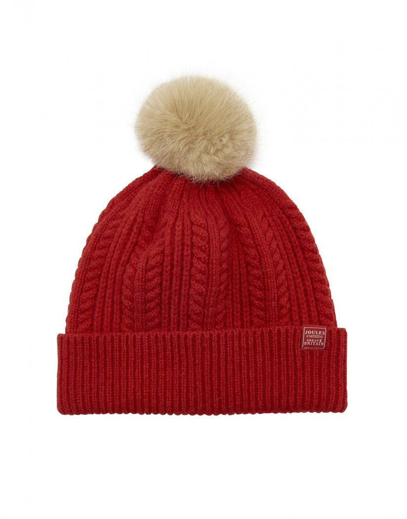 416aafd5b09 Joules Women s Cable Knit Bobble Hat - Reluctant Red in 2019 ...