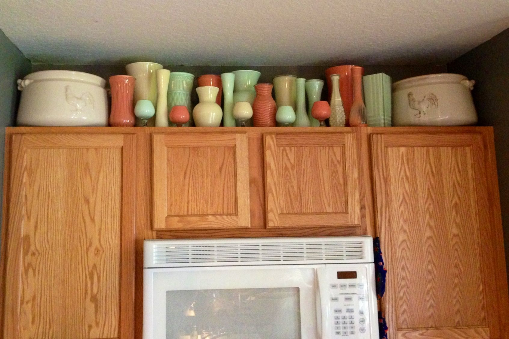 Above The Kitchen Cabinet Decor Found Two Large Planters At Jo Ann S For 70 Off Then Painted Kitchen Cabinets Above Kitchen Cabinets Kitchen Cabinets Decor
