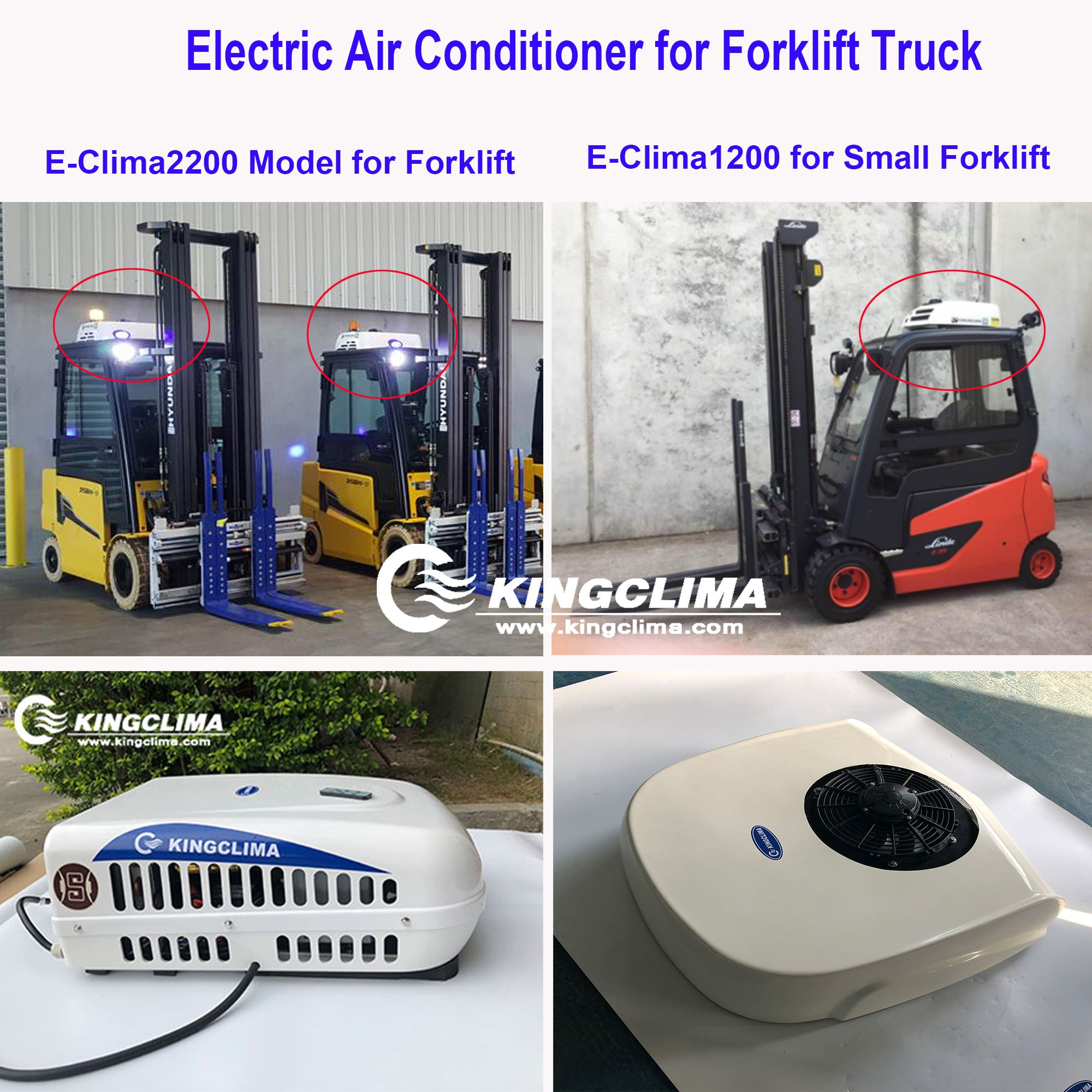 Totally electric air conditioners for small forklift or