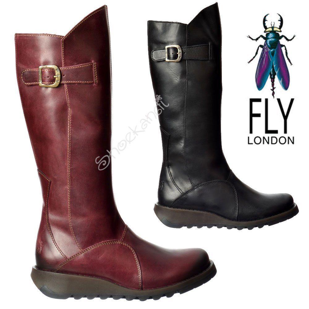 c2da076d3e8 Womens Fly London MOL 2 Knee High Low Heel Full Leather Biker Winter Boots  Size