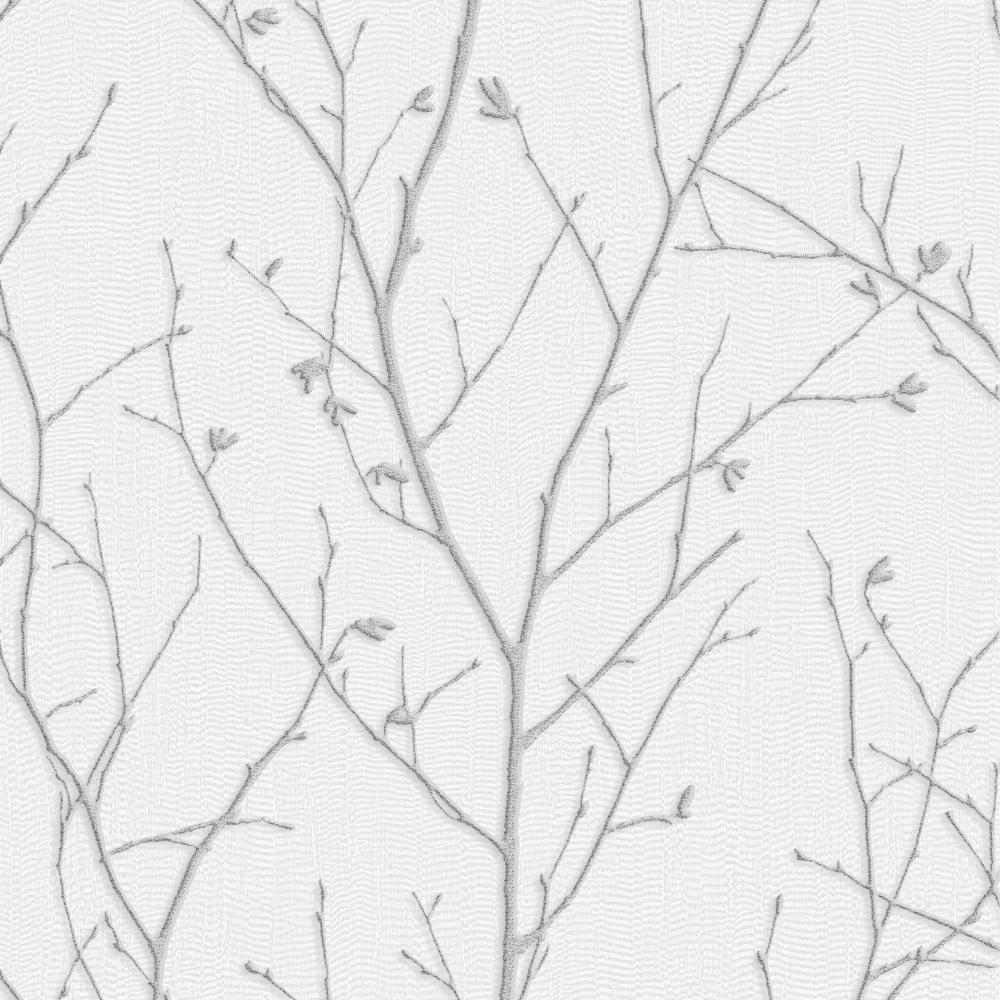Graham Brown Evita Water Silk Sprig Light Silver Wallp