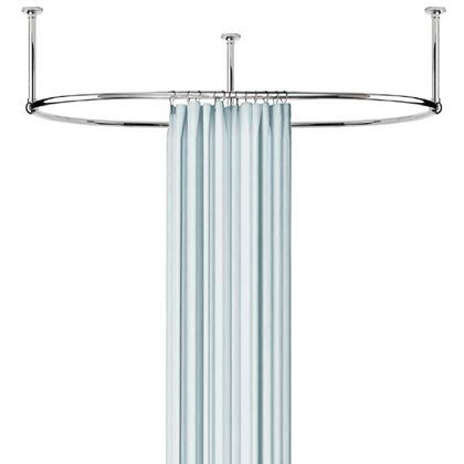 Oval shower curtain rod with mounts