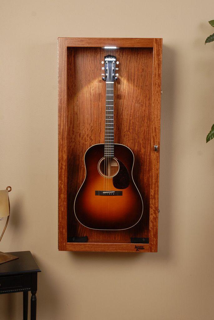 Waterfall Figured Bubinga Guitar Display Case Guitar