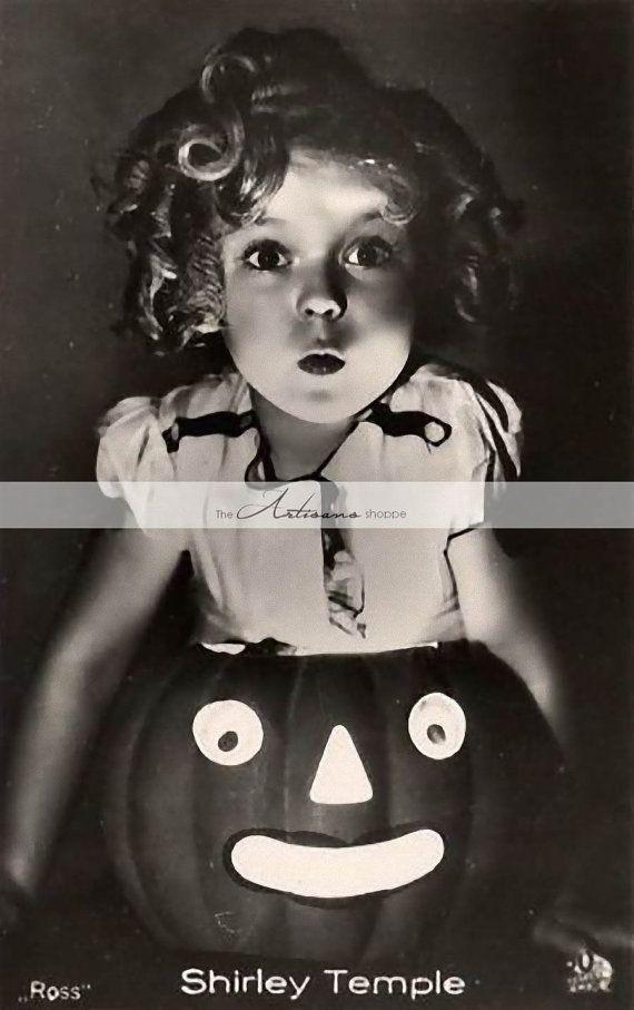 Download digitale arte stampabile – Zucca di Halloween di Shirley Temple – Artigianato di carta Scrapbooking Arte alterata – Arte istantanea – Ritratto antico