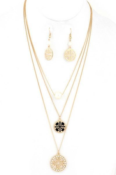 Gold Three Layered Cross Necklace Set