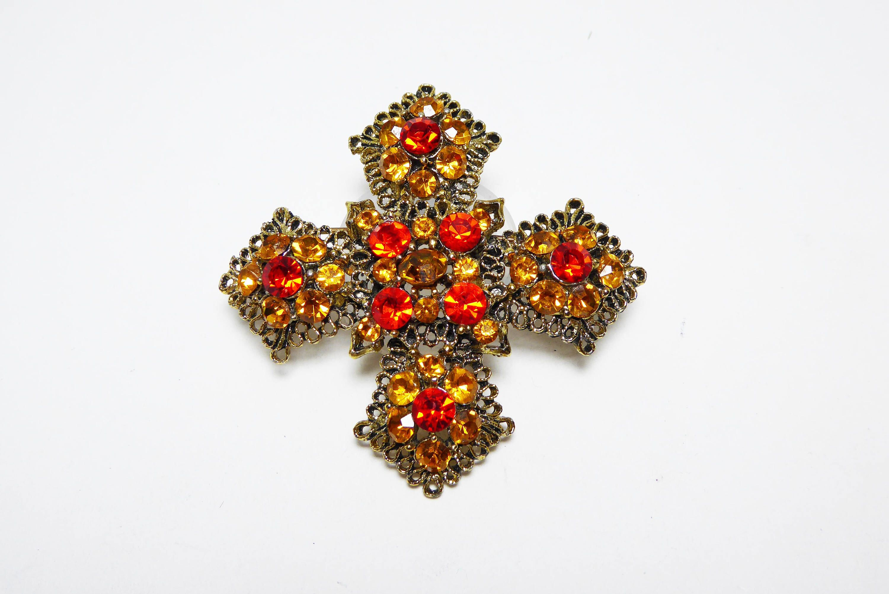 Excited to share the latest addition to my #etsy shop: Rhinestone Maltese Cross Brooch Pin, Pave Set Chaton Golden Yellow & Orange Rhinestones, Gold Tone Setting - Vintage 1960's 1970's Retro Era #jewelry #brooch #yellow #religious #orange #women