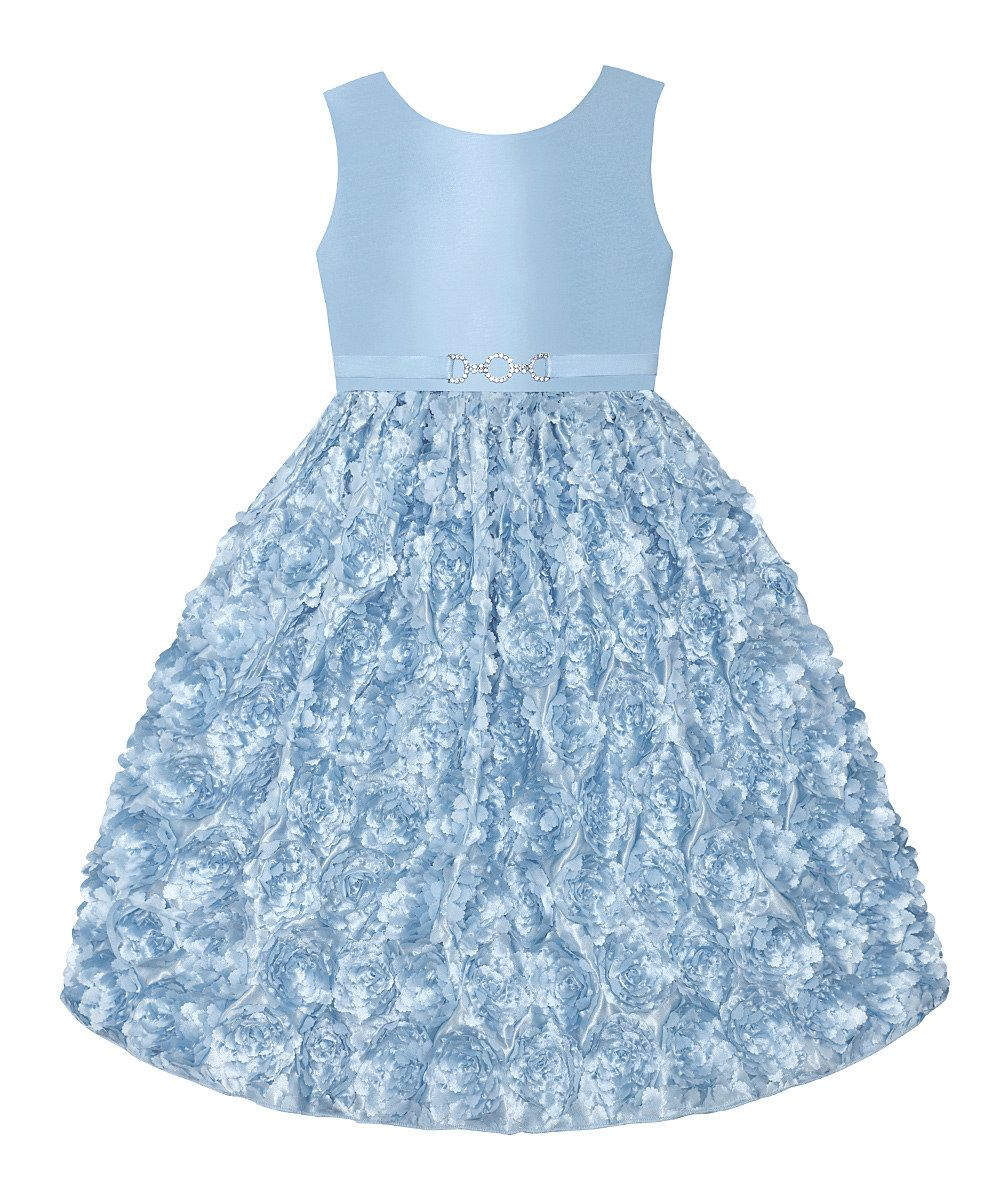 Ice Blue Floral Rhinestone Dress - Infant, Toddler & Girls