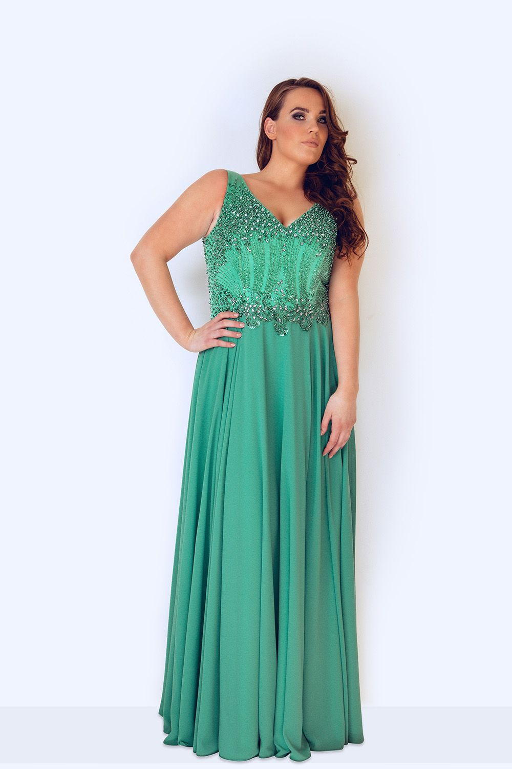 ebccffef6c2 Green sleeveless plus size evening gown, evening dress, plus size ...