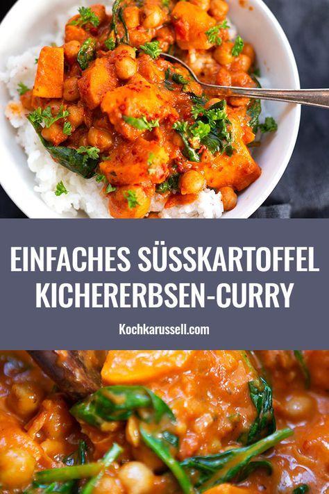 Süßkartoffel-Kichererbsen-Curry mit Spinat (30 Minuten!) - Kochkarussell