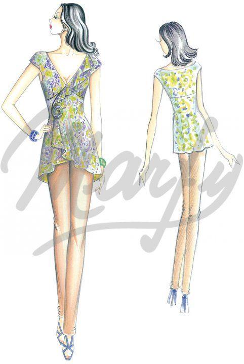 Model 2489 | Sewing Pattern Blouses This asymetrical, small kimono ...