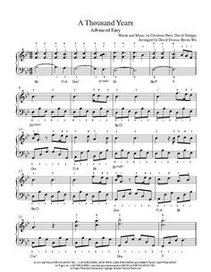 A Thousand Years By Christina Perri Piano Sheet Music Advanced