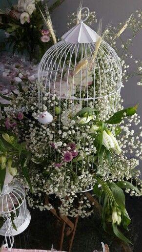 Gaiola decorada para festa de batizado - Castorina Srna