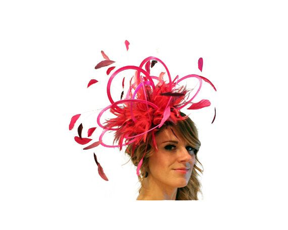 Mother of the Bride wedding Purple and Hot Pink Satin  Feather Fascinator Hat choose any colour feathers /& satin ladies day