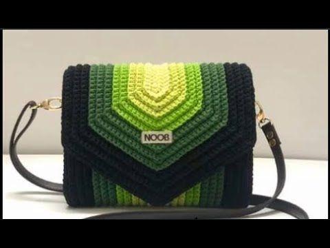 crochet bolso realizado con restos de lanas cuarentena (tutorial disponible en el canal)