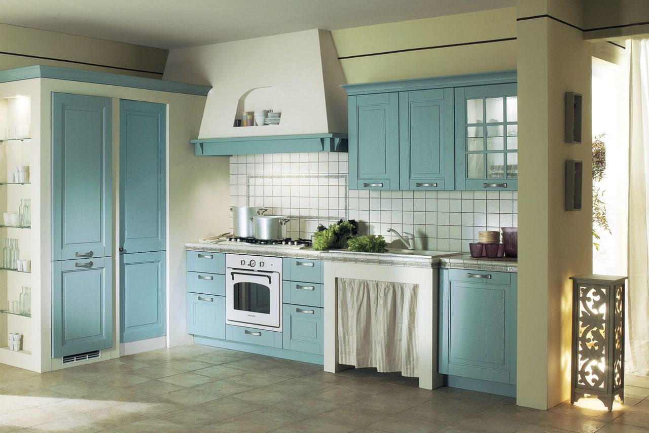 Kitchen Design Ideas Using Light Blue Kitchen Cabinet Along ...