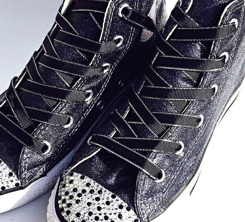 Black silver shoelaces 38 flat black grosgrain etsy