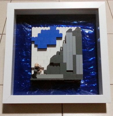 """The beginning of a dream begins with a first step."" On sale. Search 'lego photo frame' @ www.ebay.com.sg"