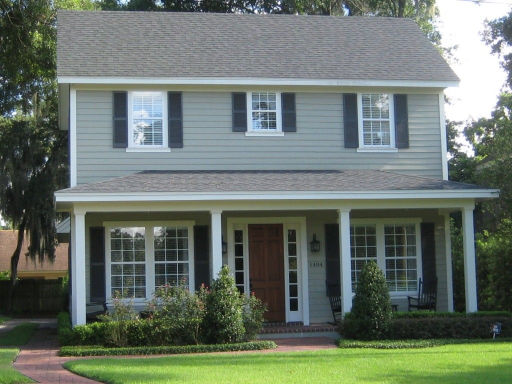Minimalist two story american house exterior design with grey