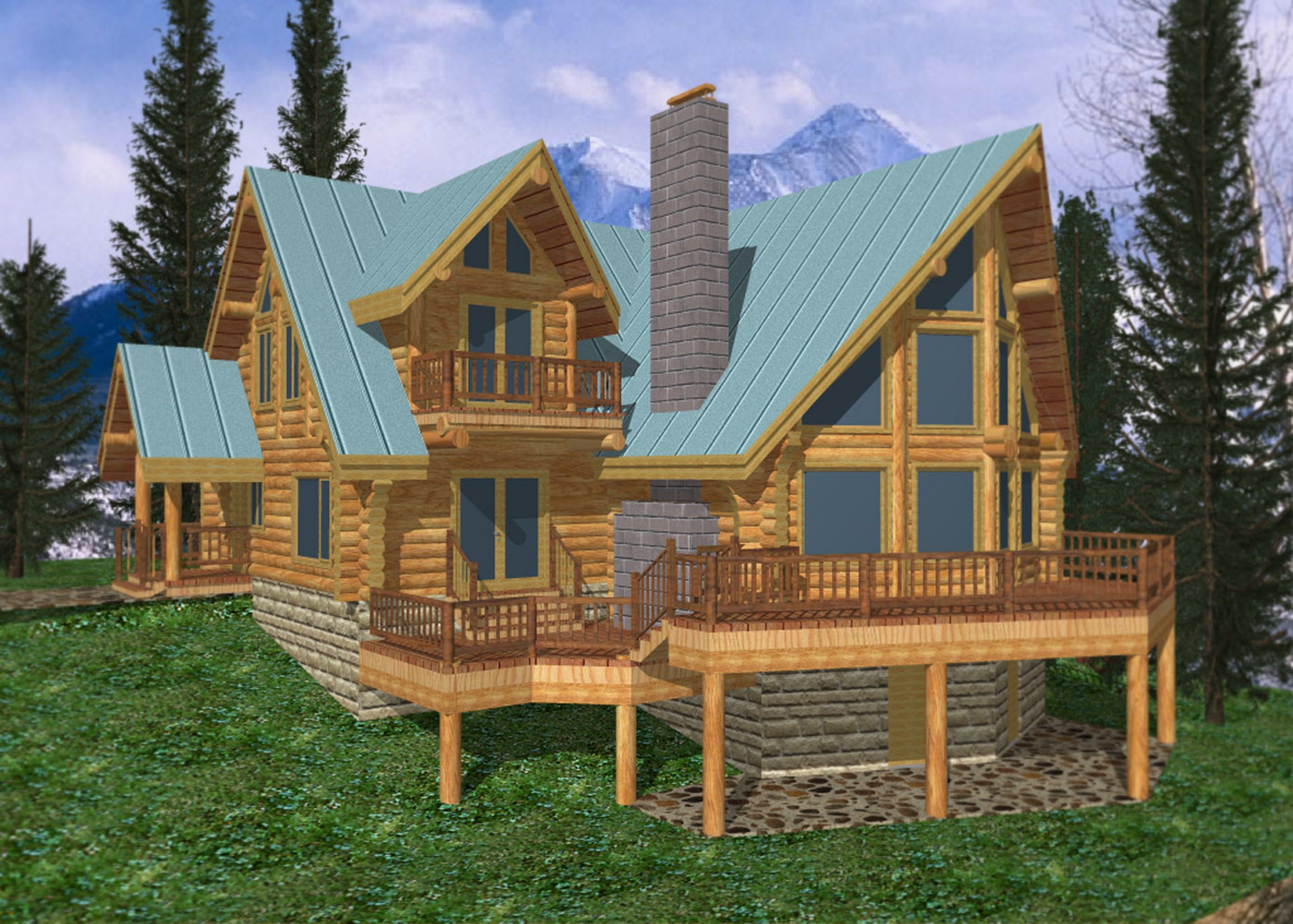 Loog Home Designs 3300 Log Cabin Home Design