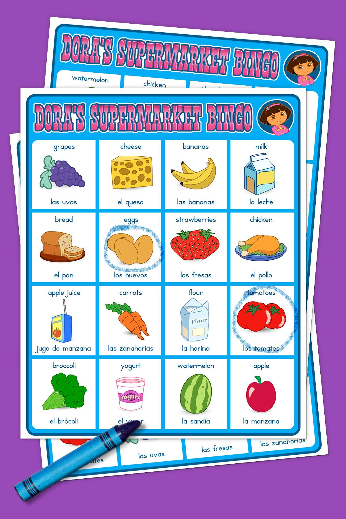 Dora Supermarket Bingo Game