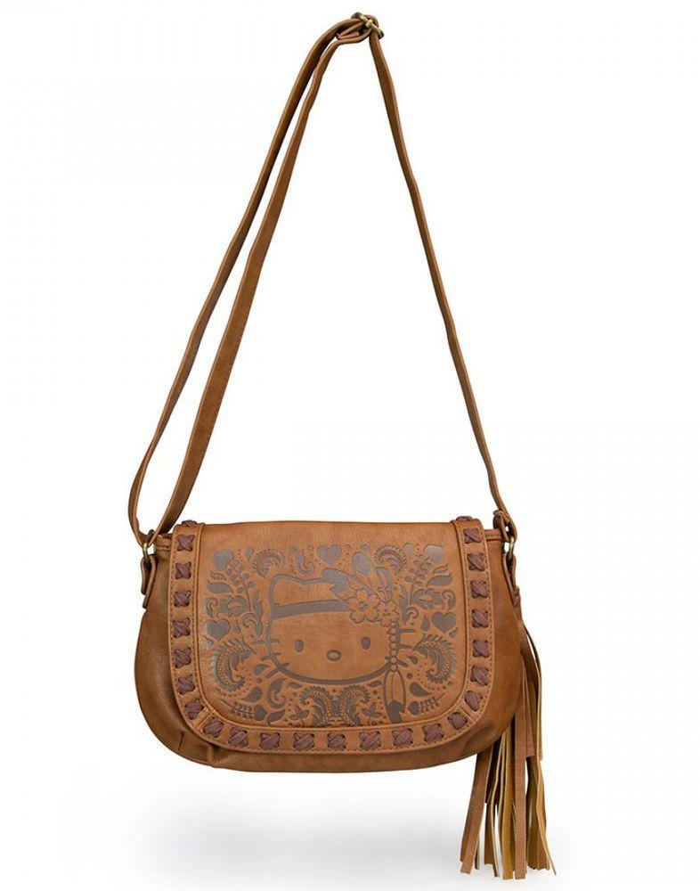 13b9c5efe New LOUNGEFLY Hangbag Bag HELLO KITTY Purse SANRIO Boho Hippie BROWN  Crossbody in Collectibles | eBay
