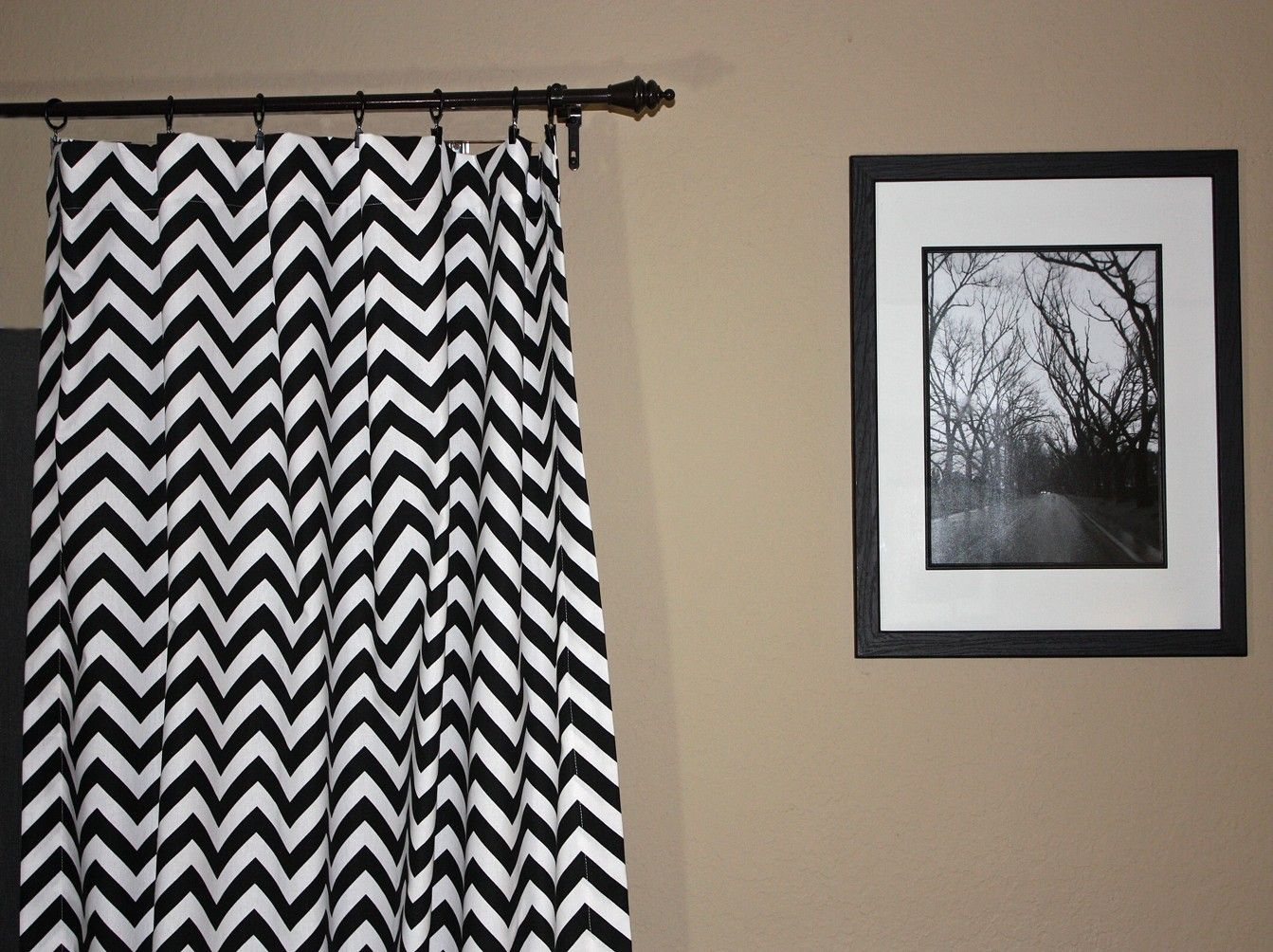one drape zig curtain curtains amazon com zag white strikingly design black ideas chevron and rod pocket