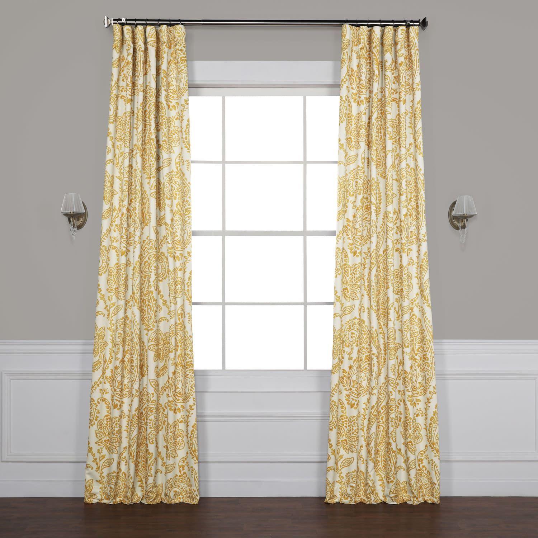Tea Time Yellow Gold Blackout Room Darkening Curtain Panel Curtains Curtains Curtain Single Panel