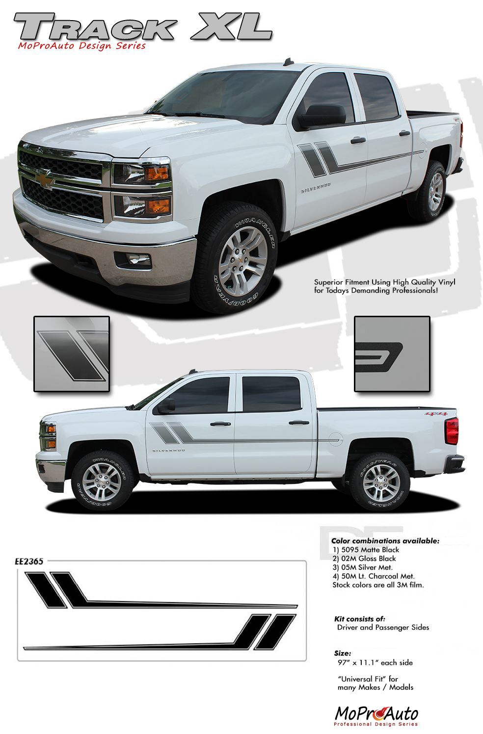 Gmc sierra and chevy silverado vinyl graphics decals and stripes kits professional style vinyl graphics kit pre cut and designed ready to install