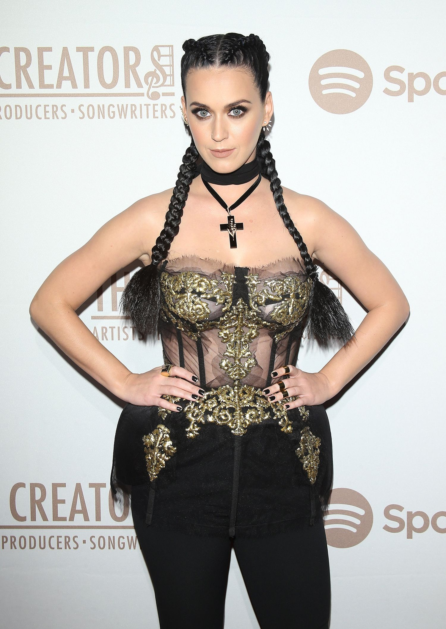 Katy Perry Ramps Up The Raunchiness In See-Through Corset For Valentines Weekend Party-2797
