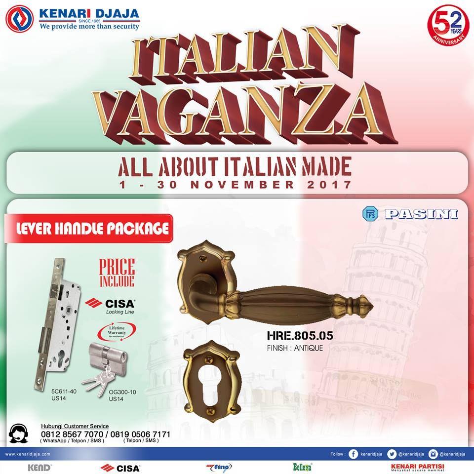 """Ayo Lengkapi Pintu Dan Jendela Rumah Anda Dengan Produk Kenari Djaja Yang Terjamin Kualitasnya... Nikmati Promo Menariknya """"Italian Vaganza"""" Dari Tanggal 1 - 30 Nopember 2017. Segera Kunjungi Showroom Terdekat Kami  Informasi Hub. : Ibu Tika 0812 8567 7070 ( WA / Telpon / SMS ) 0819 0506 7171 ( Telpon / SMS )  Email : digitalmarketing@kenaridjaja.co.id  [ K E N A R I D J A J A ] PELOPOR PERLENGKAPAN PINTU DAN JENDELA SEJAK TAHUN 1965"""