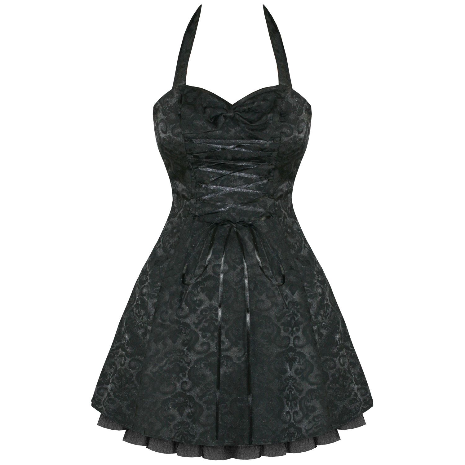 Black damask gothic steampunk emo party prom dress formal dresses