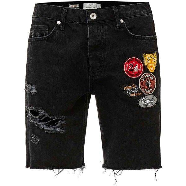 TOPMAN Black Badge Ripped Slim Denim Shorts (165 BRL) ❤ liked on Polyvore…