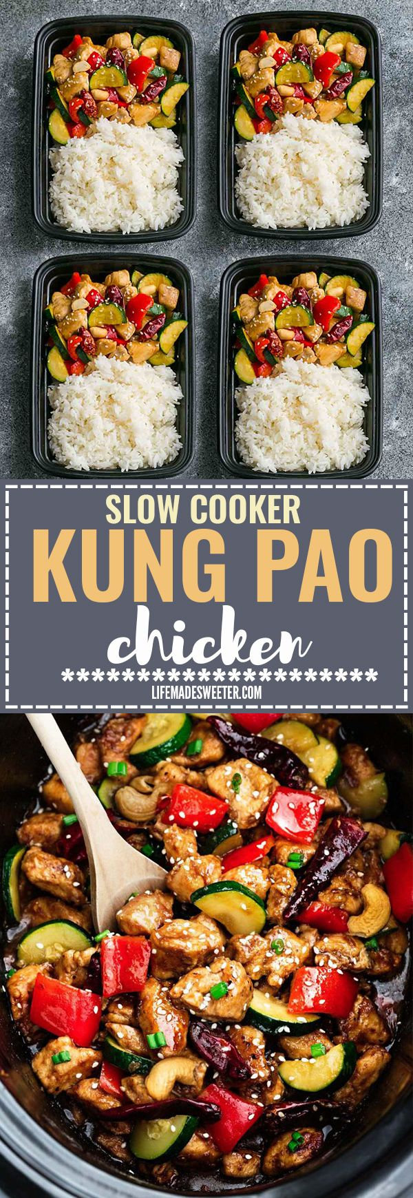 Skinny Slow Cooker or Instant Pot Kung Pao Chicken makes the perfect easy and lightened up healthy weeknight meal. Best of all, this takeout favorite, is SO much healthier and better than your local Chinese restaurant with just a few minutes of prep time. With gluten free and paleo friendly options. Weekly meal prep or leftovers are great for lunch bowls or lunch boxes for work or school. Instructions for crock-pot and IP pressure cooker #crockpotmealprep