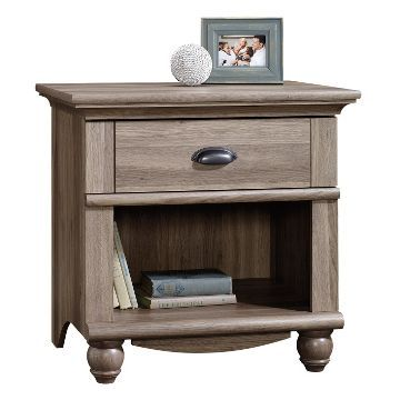 Harbor View Night Stand with Drawer and Storage Shelf - Salt Oak - Sauder