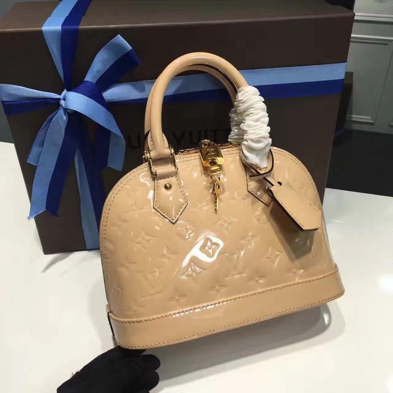 69081552ee8 Louis Vuitton Monogram Vernis Leather Alma BB Bag Dune M90175 ...