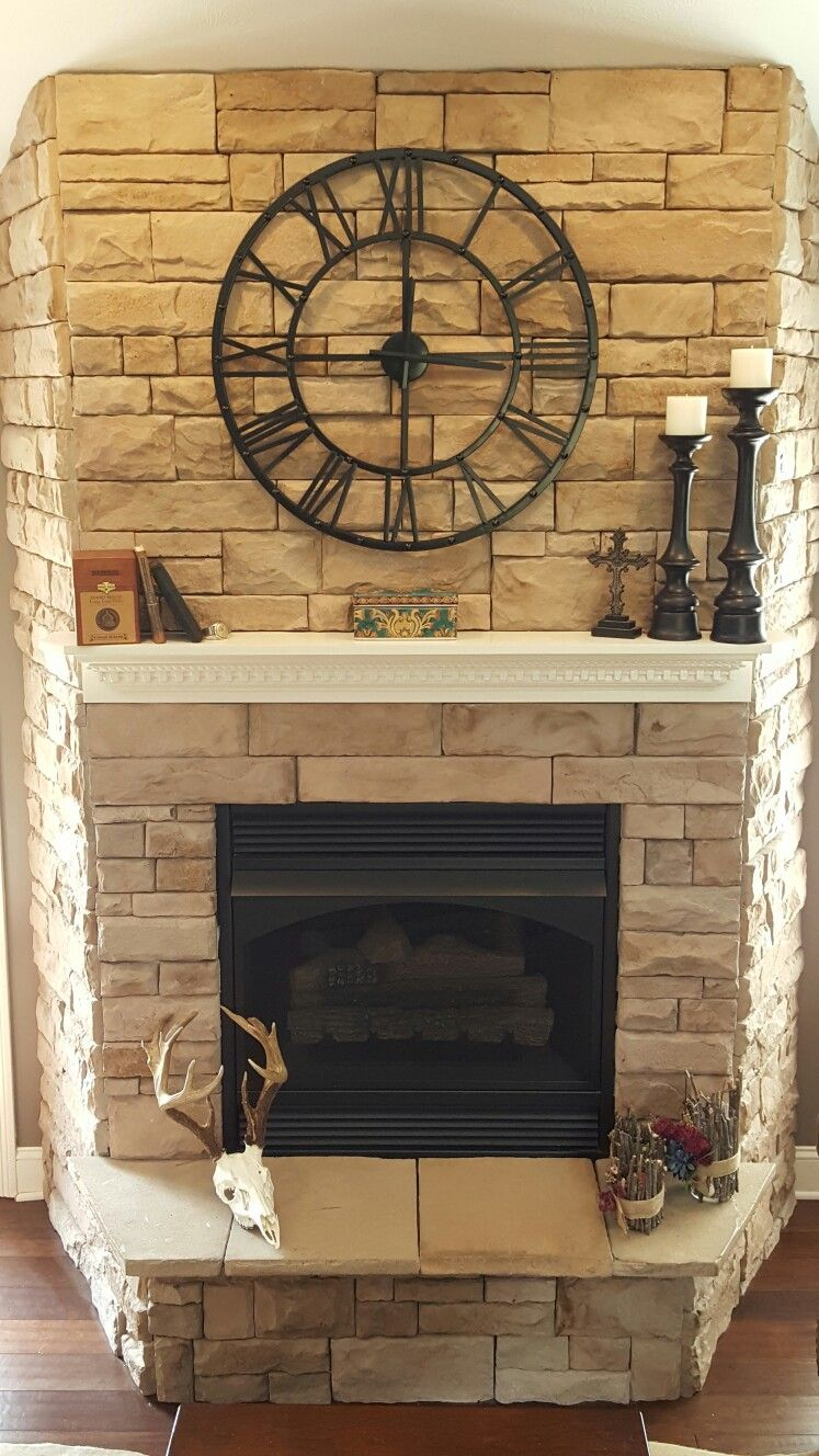 Stone Fireplace With Clock In 2019 Fireplace Mantels