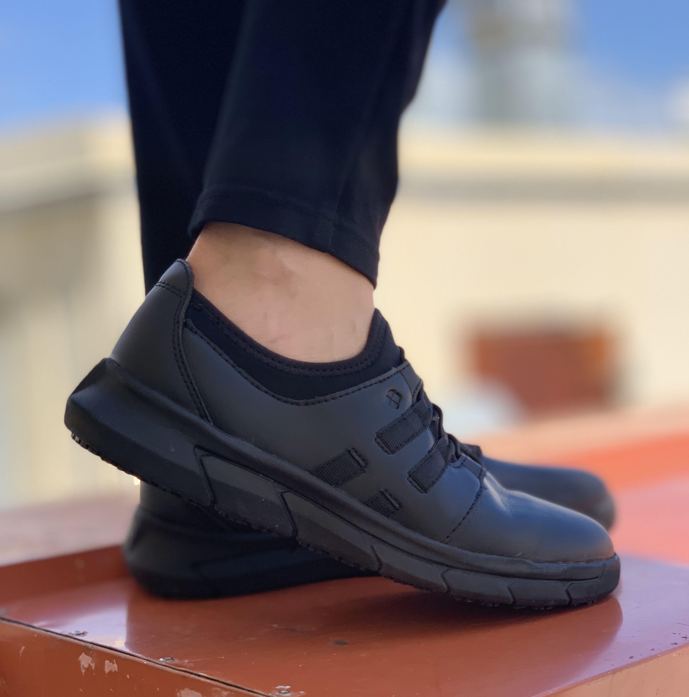 Slip resistant shoes, Black slip ons