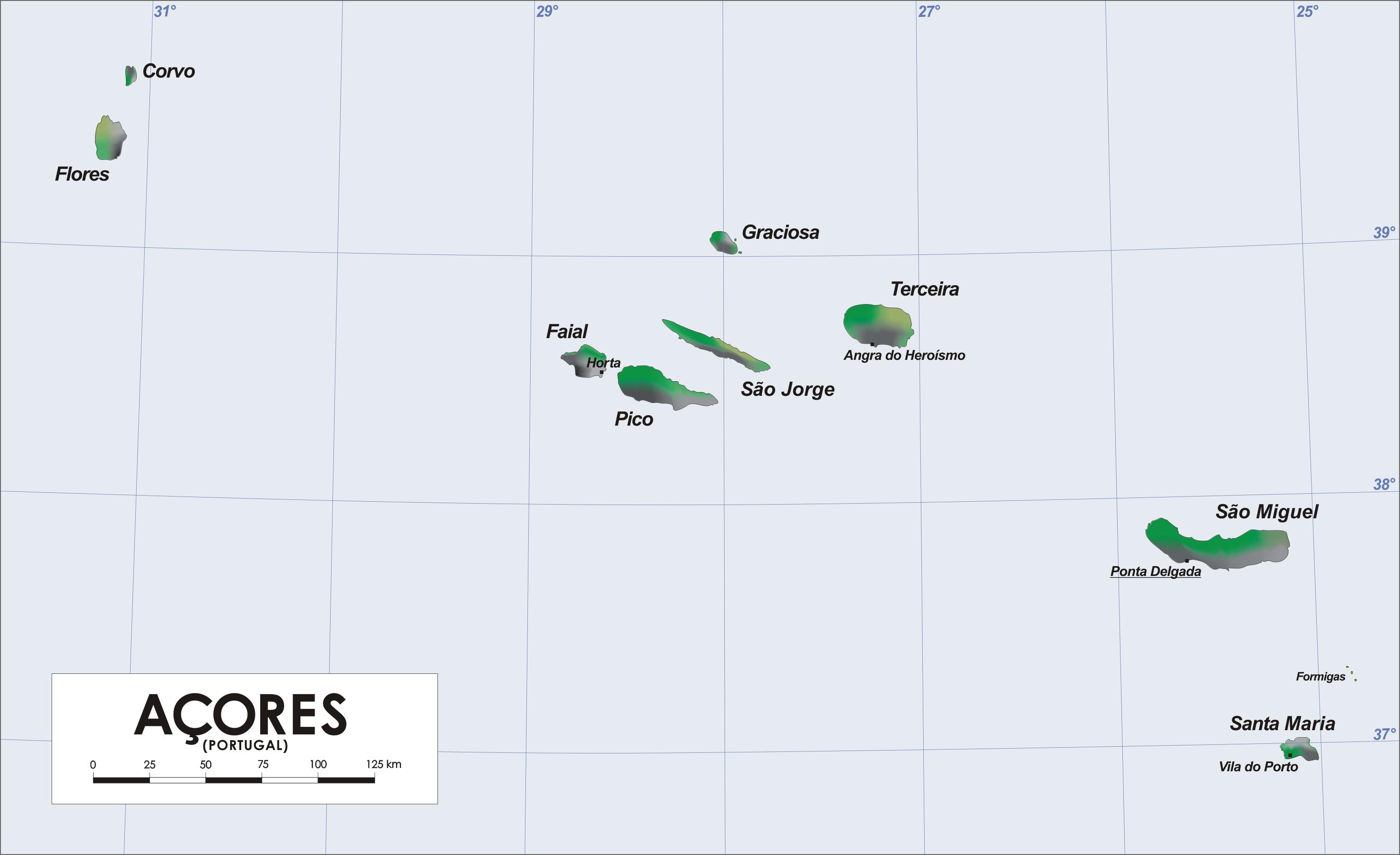 Mapa De Las Islas Azores Azores Islas Islas Azores