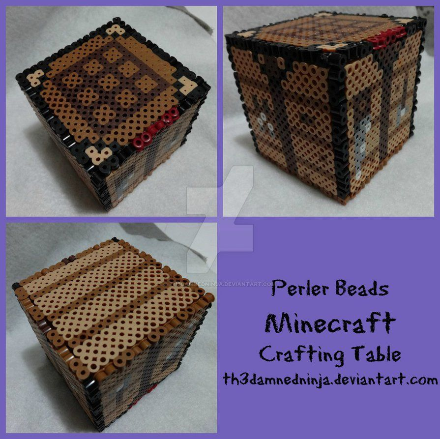 Minecraft Crafting Table By Th3damnedninja Deviantart Com On Deviantart Minecraft Beads Minecraft Perler Diy Perler Beads