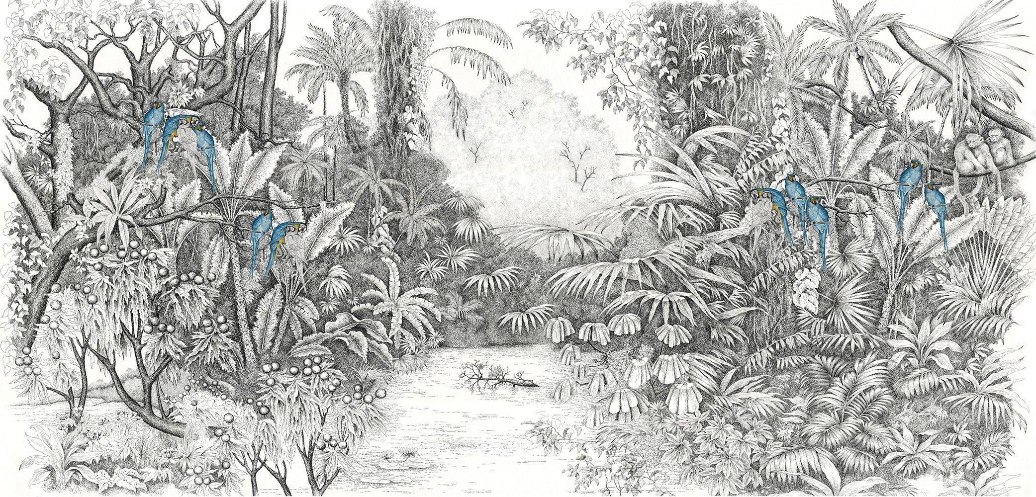 Papier Peint Avec Perroquet l'île aux perroquets bleus | papier peint panoramique
