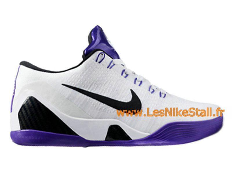 best service bc7f6 fc4ee Officiel Nike Kobe IX Elite Low iD Chaussures Nike Pas Cher Pour Homme  Blanc Violet