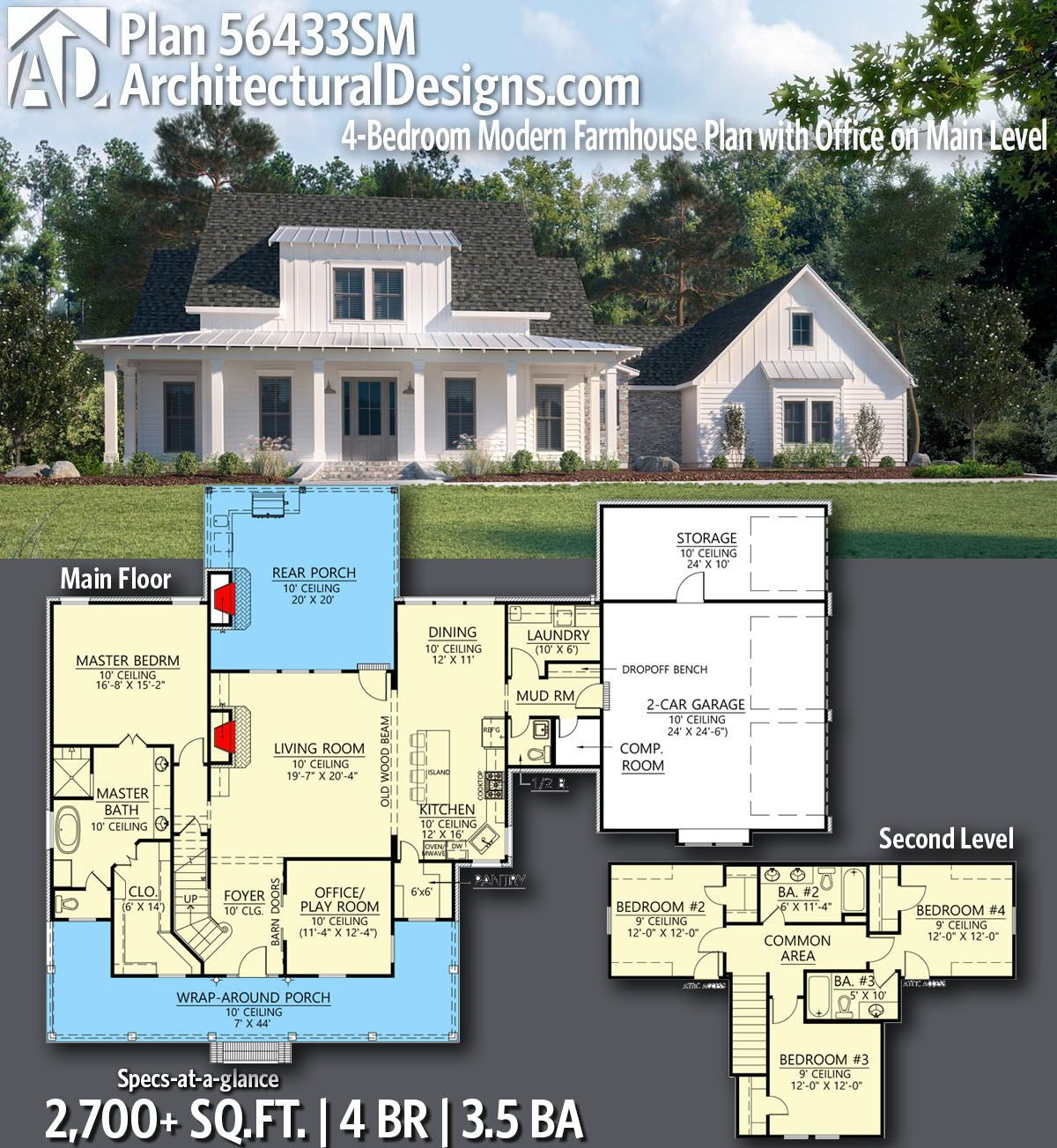 Plan 56433sm 4 Bedroom Modern Farmhouse Plan With Office