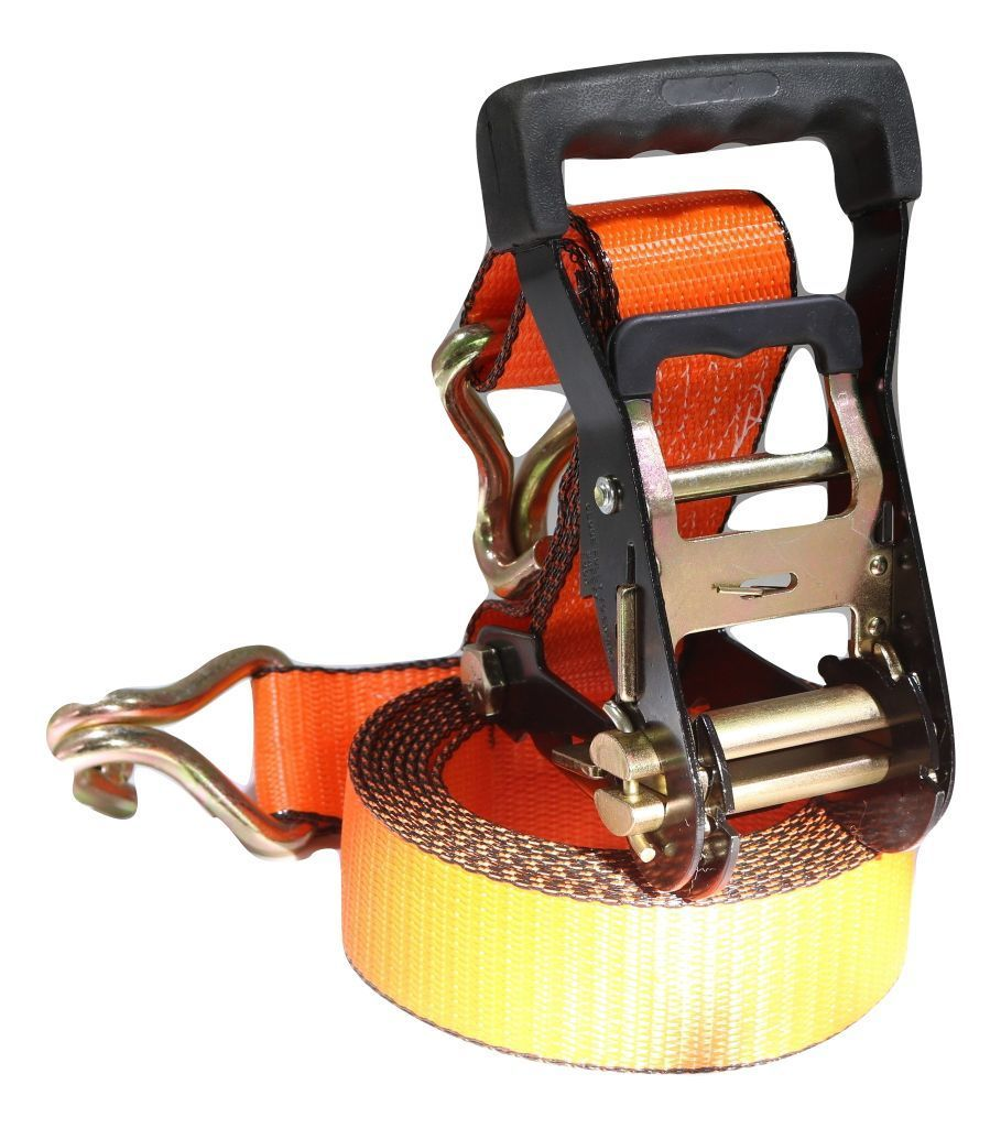2 x 12 ft ratchet strap wwire hooks orange scuff edge